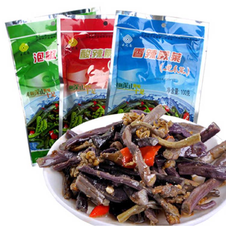 T菌 云南特产5包野生蕨菜酸辣香辣泡椒蕨菜100g1包
